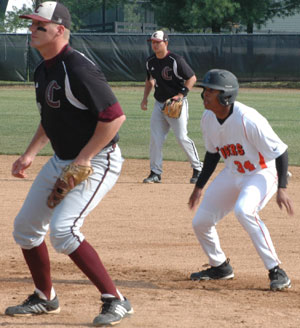 T.C. O'Neal gets a lead at first during a game this past season against Campbellsville.