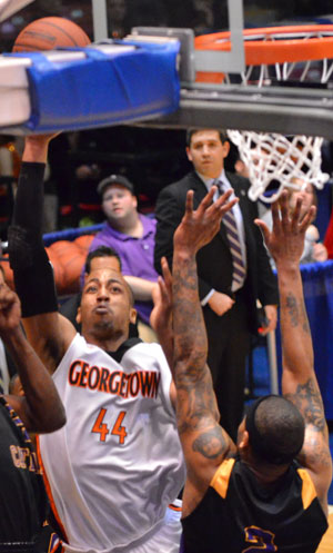 Maurice Pearson led Tigers over McKendree with 19 points and eight rebounds. Photo by Richard Davis