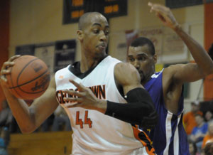 Maurice Pearson prepares to make a low post move. Photo by Richard Davis