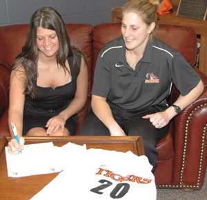 Lucy Davis recently signed to play soccer for Georgetown College. Also pictured is GC coach Leah Crews Castleman.