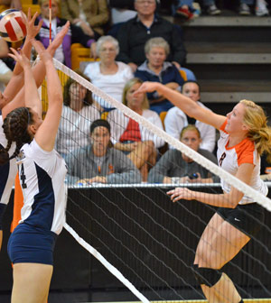 Liz Goodin attempts to kill the ball in a match this season. Photo by Richard Davis