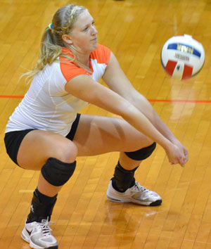 Rebekah Moore is one of the senior leaders for the 2012 volleyball Tigers. Photo by Richard Davis