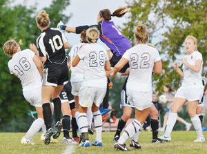 Shaver makes a save off a corner kick earlier this season. She currently has 74 saves, fifth on the season list at GC.