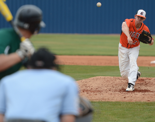 Matt Smith pitches GC to first opening round win. The senior struck out five. Photo by Ryan Bartels