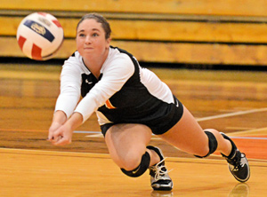 Lindsey Wise digs a ball this past week against Lindsey Wilson.