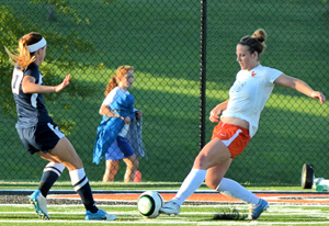 Caitlin Williams clears the ball against Mount Vernon Nazarene. The senior is MSC Defensive Player of the Week.
