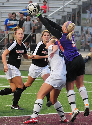 Kelsey Givens makes a save Wednesday against CU. The Tigers defense has allowed just three goals in six games.