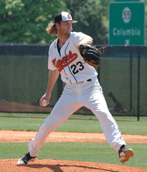 Tyler Arthur pitched eight innings and left the game with a no-decision. Photo by Jay Nicols