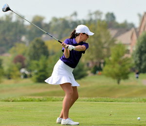 Corri Collins prepares to tee-off Monday. Photo by Richard Davis