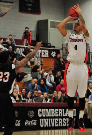Jaylen Daniel scored 22 points, 8 in overtime, as GC beat UC. Photo by Richard Robards