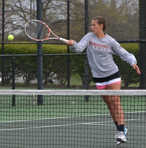 Natalie Hill returns a shot during doubles Thursday in MSC Tourney. Photo by Richard Davis