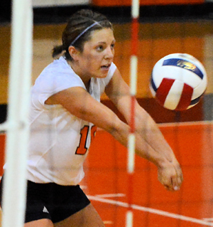 Kristen Schellhaas passes a ball this past week. Photo by Richard Davis.