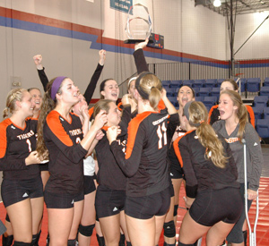 Tigers celebrate winning MSC Tournament Title.