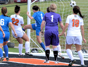 Becca Dietrich, 22, scored this goal against Midway as the Tigers went on for a 4-1 win this past Saturday. Photo by Richard