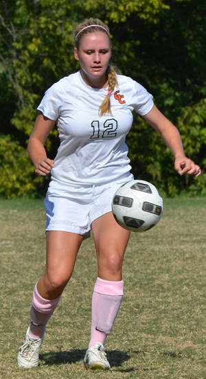 Morgan Zimmer rocks the pink socks as GC women's soccer helped NFCR raise money to battle cancer.