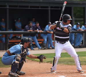Steven Mancilla had four hits and eight RBIs in Saturday's doubleheader. Photo by Richard Davis.
