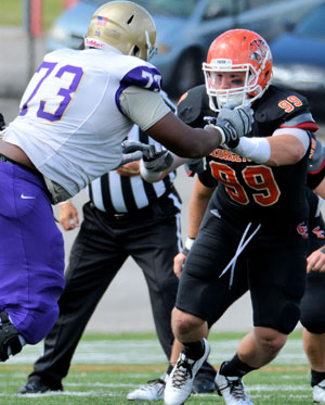 Tiger defensive end Nick Seither receiving interest from several pro teams. Photo by Richard Davis