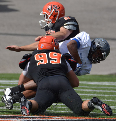 Nick Seither sacks Terrell Robinson. Photo by Richard Davis