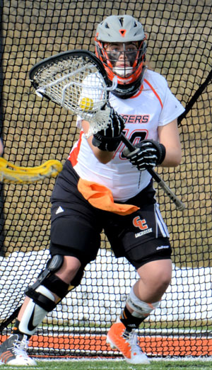 Doreen Brabble had 15 saves, three in the final five minutes to help Tigers beat SCAD. Photo by Richard Davis