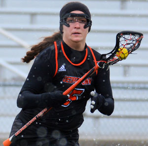 Merrisa Heraldson scored six goals in win Saturday over Robert Morris. Photo by Richard Davis.