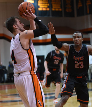Noah Cottrill scored 34 as Tigers beat UPike, 109-101. Photo by Richard Davis.