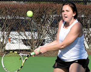 Jacqueline Otis is 8-0 in singles and doubles play this spring for Georgetown. Photo by Richard Davis.