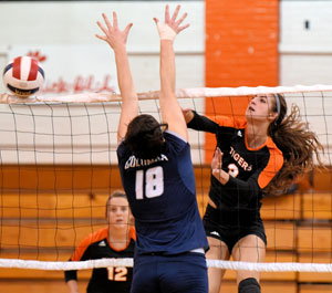 Caraline Maher finished with a match-high 19 kills Thursday. Photo by Richard Davis