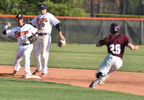 Chaz Meadows turns a double play against Cumberland. Photo by Richard Davis