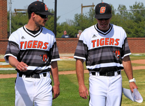 Coach Adam Skonieczki, left, was GC's assistant baseball coach since 2012. Photo by Richard Davis