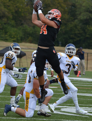 Johnathon Harrison picked off Ryan Thompson to set up GC's first score. Photo by Richard Davis