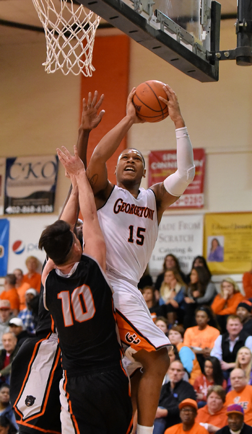 Deondre McWhorter averaged 17.3 points and 11 rebounds this past week to earn MSC Player of the Week honors. Photo by Richard