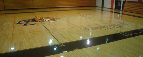 Davis-Reid Alumni Gym has been refinished and repainted for a new look.