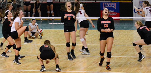 Tigers rally from two sets down to win 17-25, 20-25, 25-20, 25-19, 18-16. Photo by Ray Muha