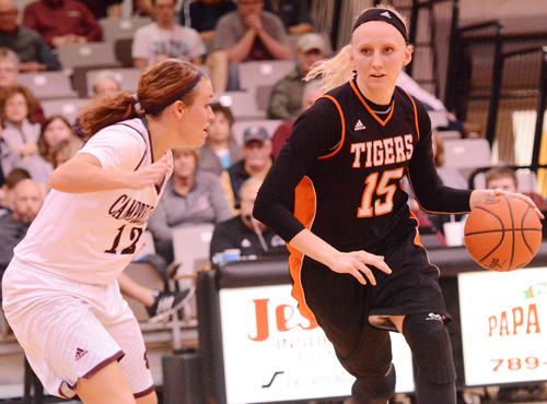 Jessica Foster scored her 1,000th point in win over Campbellsville. Photo by Richard Robards