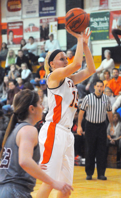 Jessica Foster goes up for a free throw. Photo by Ryan Alves.