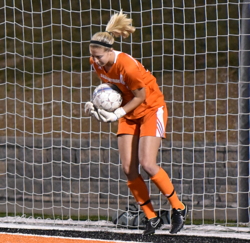 Danielle Lang makes a save off a free kick against Cumberland University this past week. Photo by Richard Davis