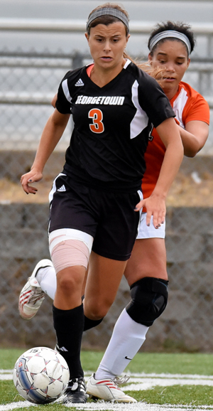 Lindsey Dunn scored the winning goal Wednesday against St. Catharine College. Photo by Richard Davis