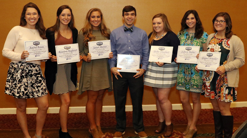 Seven Tiger cheerleaders were honored Wednesday at the MSC banquet for All-Academic honors.