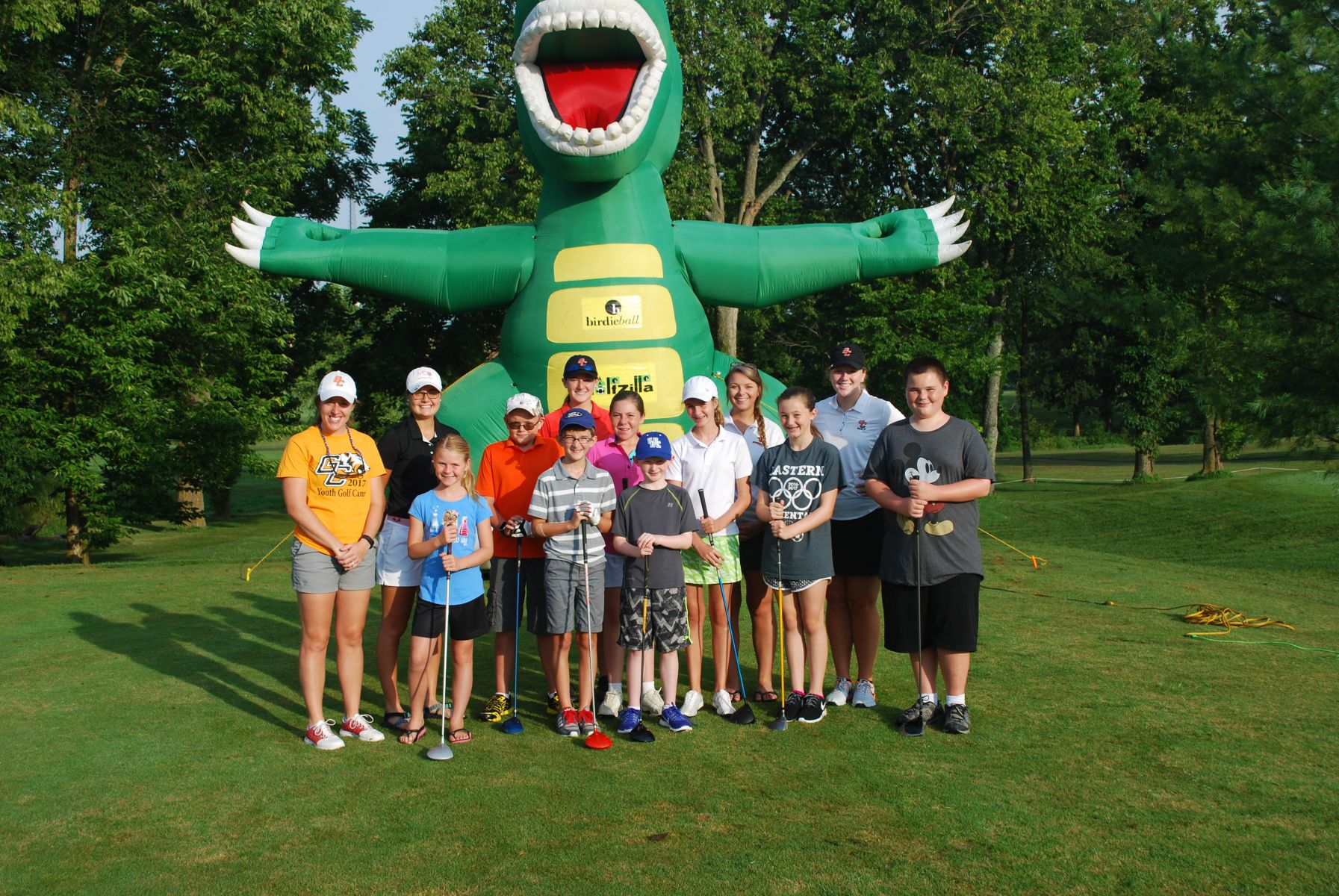 Tiger golfers had fun with campers at the recent golf camp.