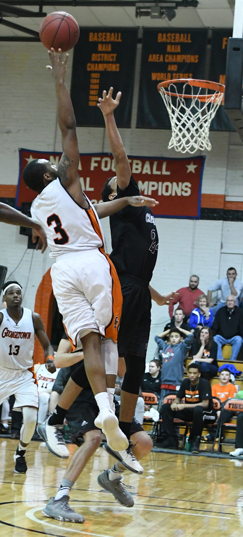 Darion Burns elevates for two of his 13 points. Photo by Richard Davis