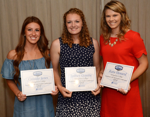 Cassidy Janes, Sydney Goyette and Kara Howard earned MSC All-Academic. Photo by Richard Robards