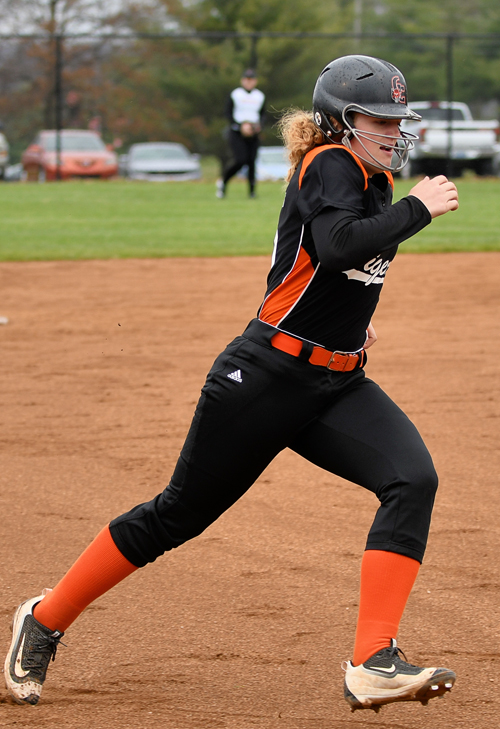 Sydney Goyette rounds third. The senior earned MSC Player of the Week. Photo by Richard Davis