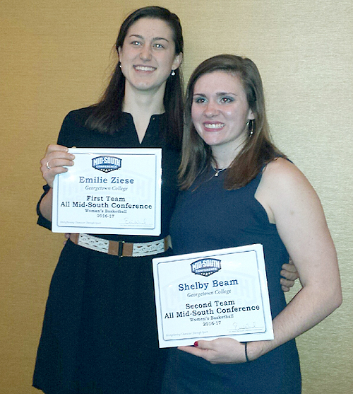 Emilie Ziese, left, and Shelby Beam receive all-conference honors Wednesday.