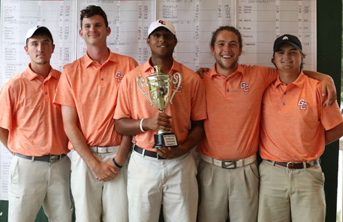 GC men's golf team rallied from third to first for the MSC fall title. Photo by Jordan Alves