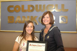 Georgetown College's Katie DeVeau with Kim Kearns of Coldwell Banker McMahan.
